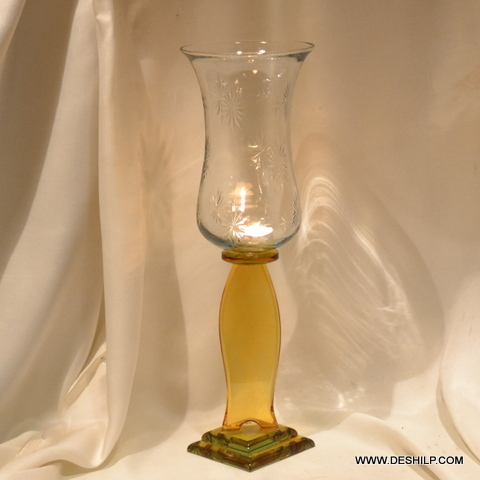 YELLOW PILLAR GLASS CANDLE HOLDER