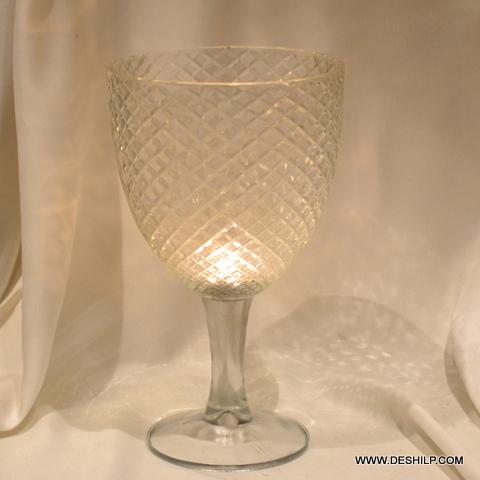 CLEAR GLASS  CUT PILLAR CANDLE