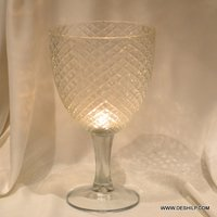 CLEAR GLASS  CUT PILLAR CANDLE