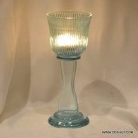 SKY BLUE GLASS PILLAR CANDLE HOLDER