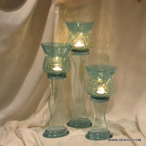 ANTIQUE GLASS PILLAR CANDLE HOLDER