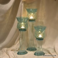 ANTIQUE GLASS PILLAR CANDLE HOLDER