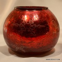 RED GLASS BIG CANDLE HOLDER