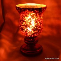 RED GLASS HURRICANE SHAPE CANDLE HOLDER