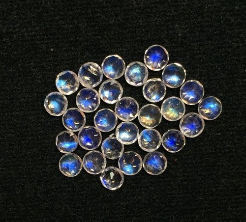 4mm Natural Rainbow Moonstone Faceted Round Gemstone