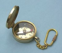 Medium Polished Brass Pocket Compass Key Chain
