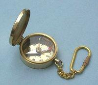 Medium Polished Brass Pocket Compass Key Chain