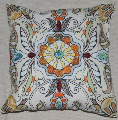 Canvas printed & embroidered cushion cover