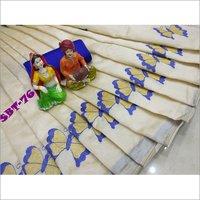 Womens Assam silk embroidery work saree