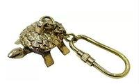Nautical Tortoise Charm Brass Keychain Keyring
