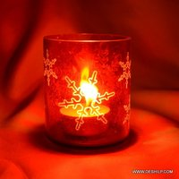 RED GLASS PRINTED CANDLE VOTIVE