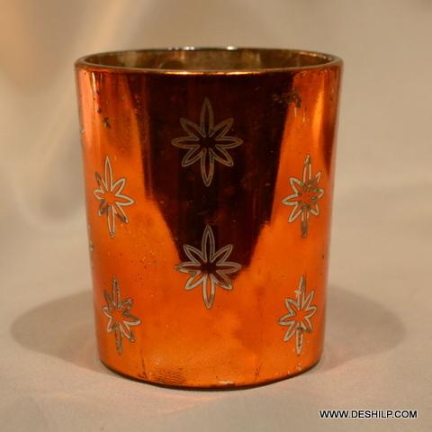 Orange T Light Candle Holder
