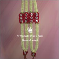 Jasmine Garland Embedded Red Carnations