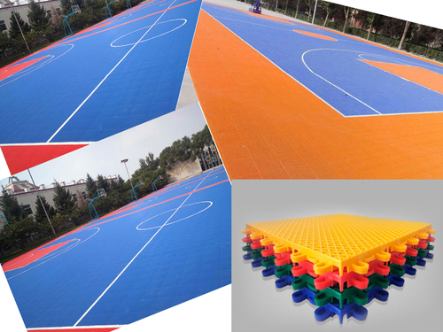 Easy install outdoor PP interlocking tiles basketball court flooring