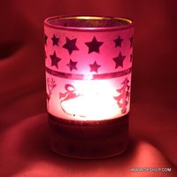 Purple Color Glass T Light Candle