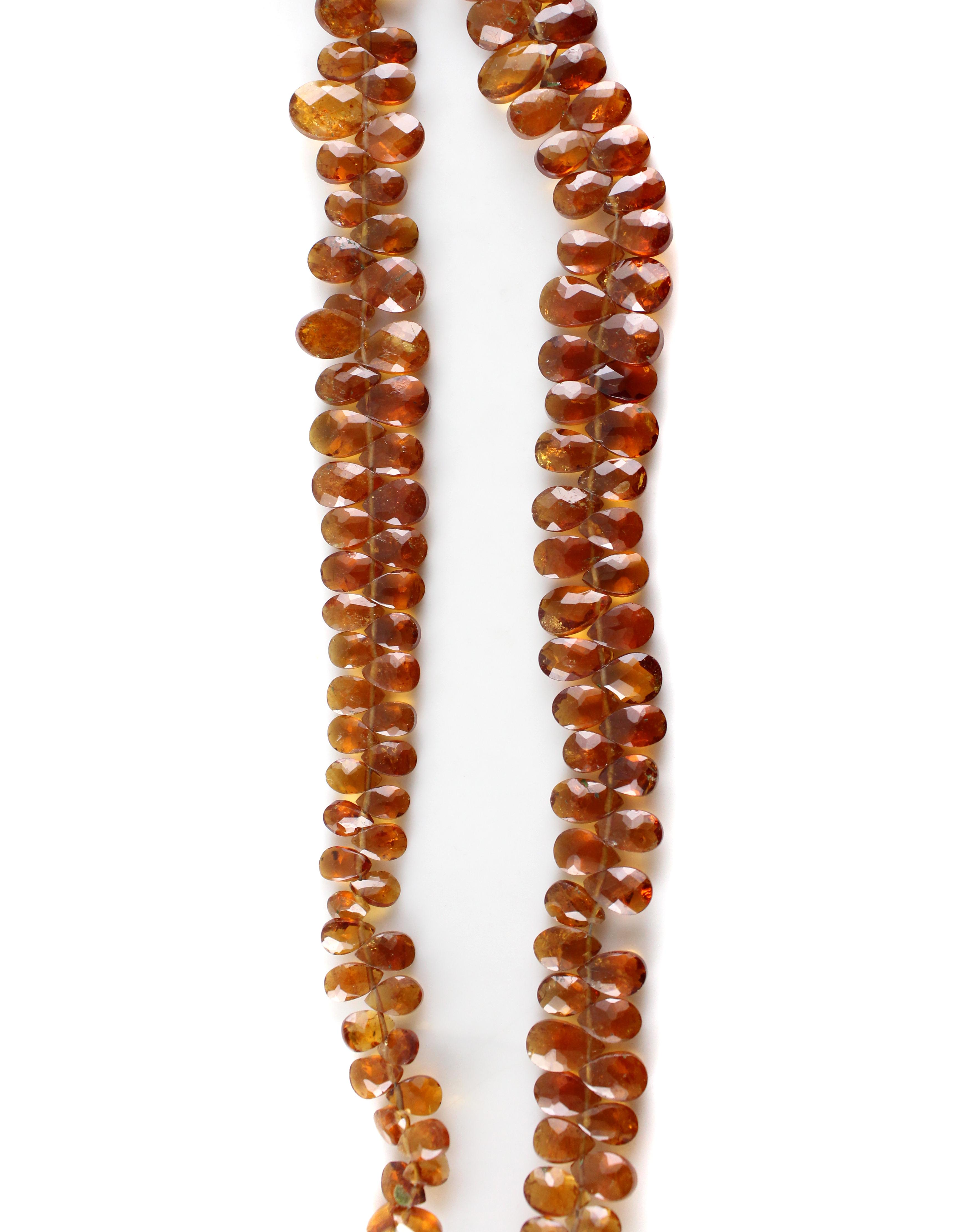 Hessonite Garnet Pears Beads