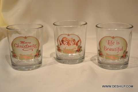 Clear Glass Printed Candle Holder