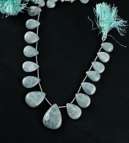 Milky Aqua Pears Beads