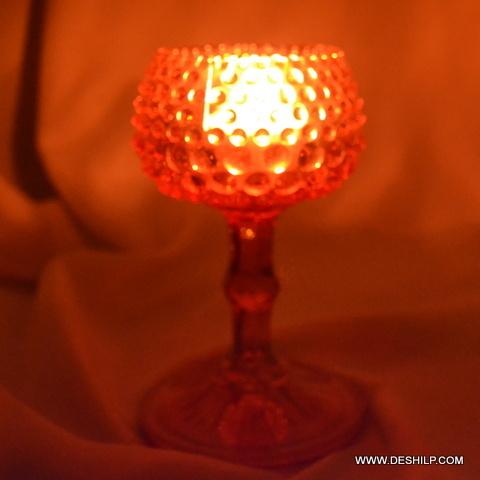Color Glass Pillar T Light Candle Votive