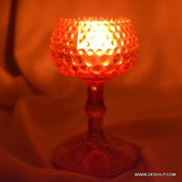 Color Glass Pillar T Light Candle Votive