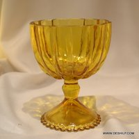 YELLOW T LIGHT GLASS CANDLE HOLDER