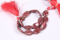 Natural Thulite Oval Beads