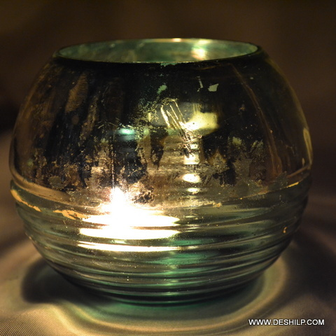 SILVER GLASS T LIGHT CANDLE HOLDER