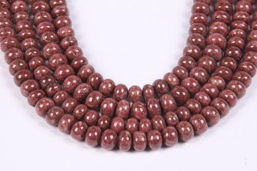 Natural Thulite Roundel Beads