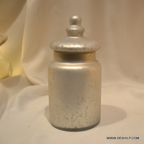 Antique Glass Silver Jar With Lid