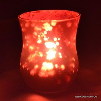 Red Glass Silver Finish Candle Holder