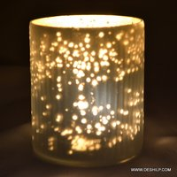 Beautiful Glass Candle Holder With Silver Work