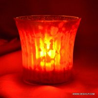 Silver Glass Sml T Light Candle
