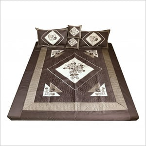 Embroidery semi Quilted bedsheet