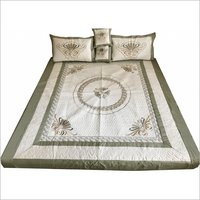 Semi Quilt Fabric Embroidered Bedsheet