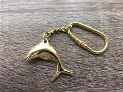 Brass Dolphin Fish Keychain