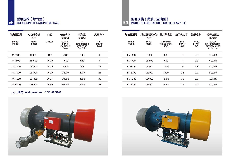 oil/heavy oil burner for asphalt plant