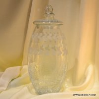 Big Crystal Glass Jar With Glass Lid