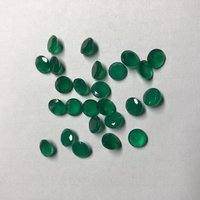 6mm Natural Green Onyx Faceted Round Loose Gemstone