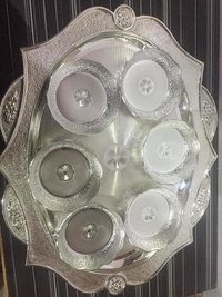 Antique Silver Tray Set