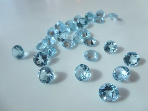 3.5mm Natural Sky Blue Topaz Faceted Round Gemstone