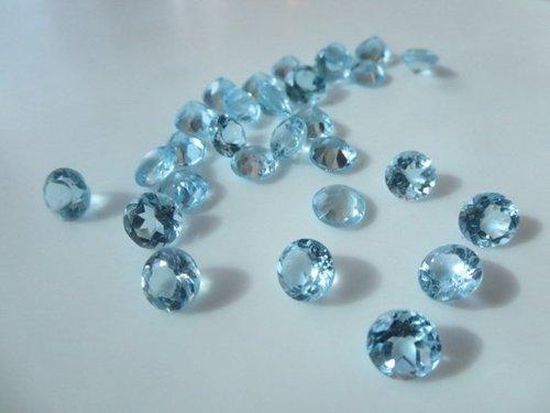 3.5mm Natural Sky Blue Topaz Faceted Round Gemstone