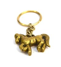 Horse Gold Brass Keychain