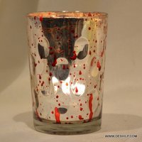 Silver Glass Red Spot Candle Holder
