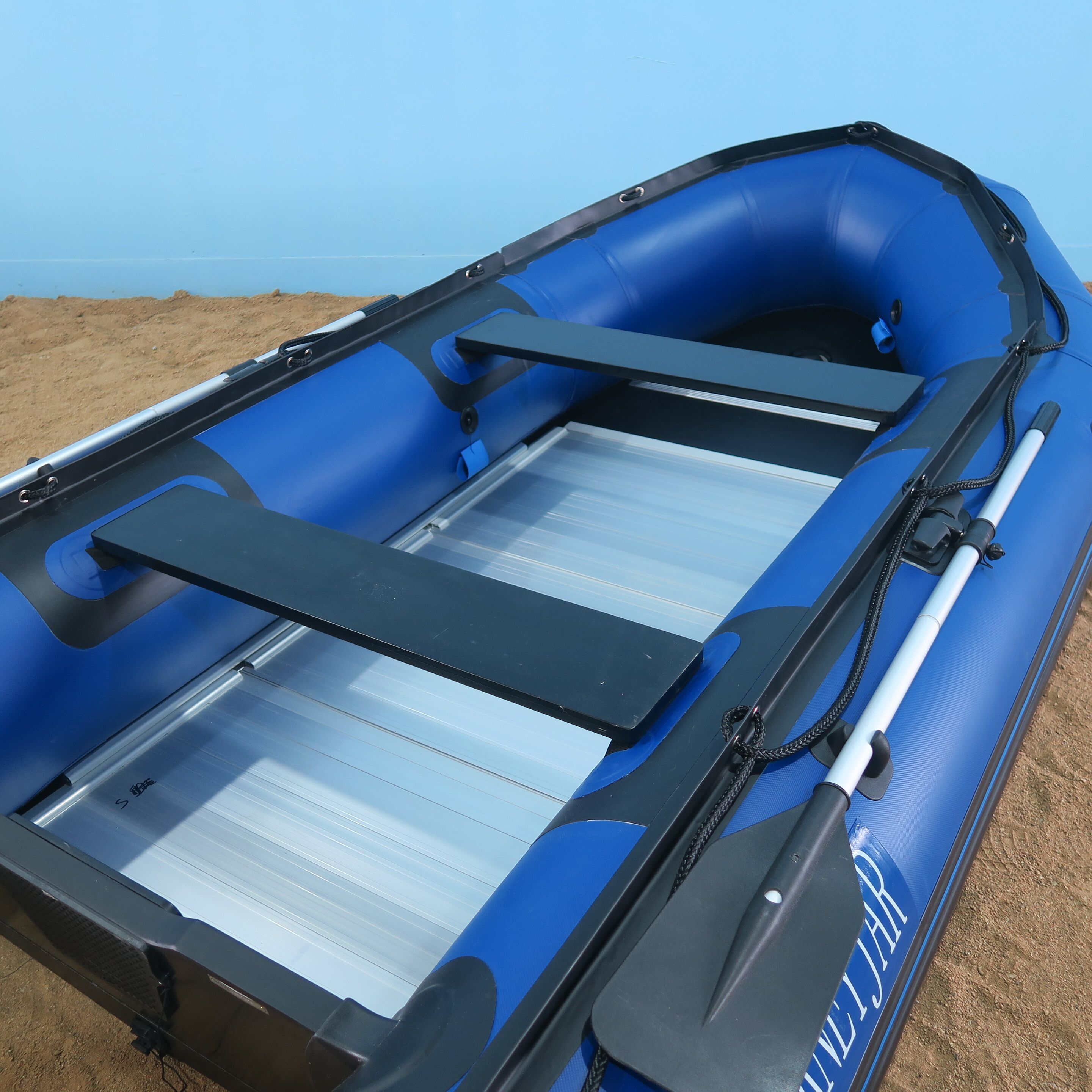 Blue inflatable boat