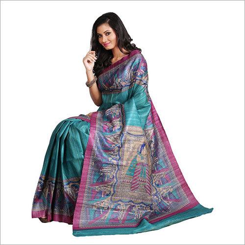Madhubani Printed Silk Saree