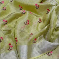 Embroidery Tissue Linen Saree