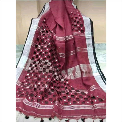 Cutwork Linen Saree