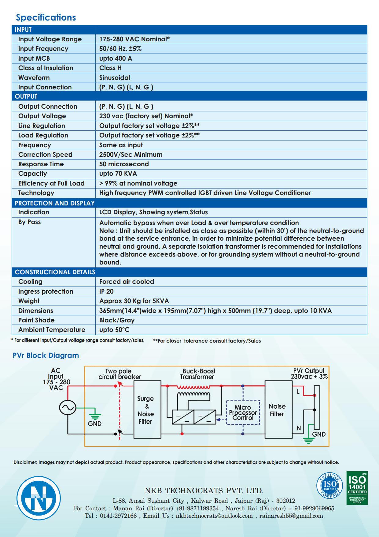 Static Voltage Stabilizer