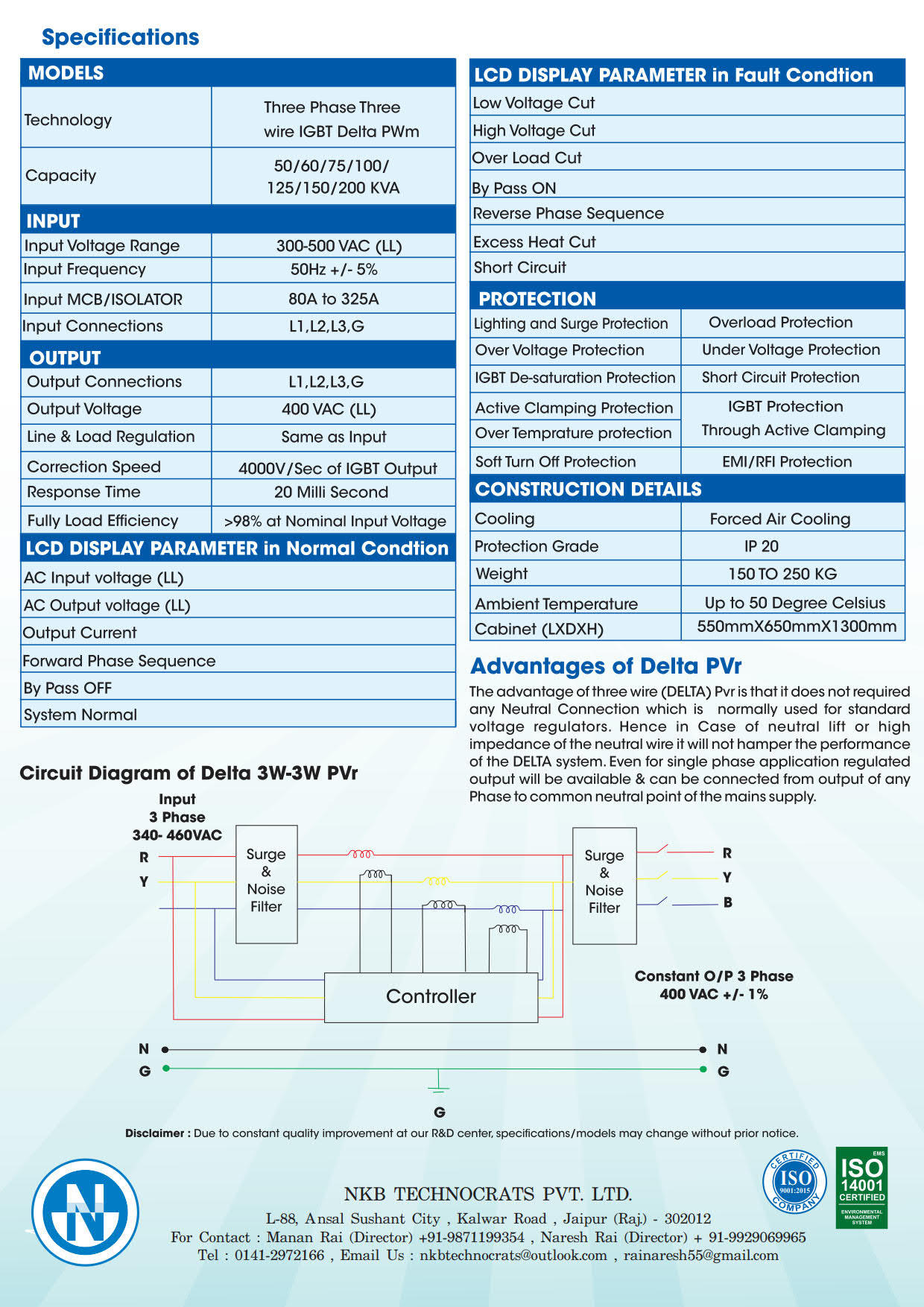 Static voltage Stabilizer using IGBT- Delta Type