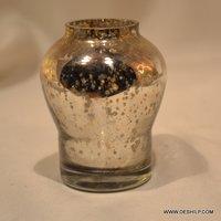 Matki Shape Glass Flower Vase With Silver Finish